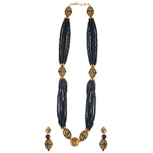 Efulgenz Indian Bollywood Multi Layered Blue Faux Pearl Crystal Beads Bridal Strand Necklace Earrings Wedding Jewelry Set
