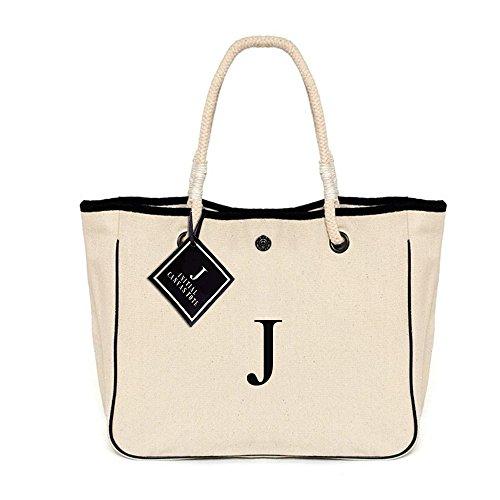 [ INITIAL - J ] Monogram Name Canvas Tote Shoulder Bag -