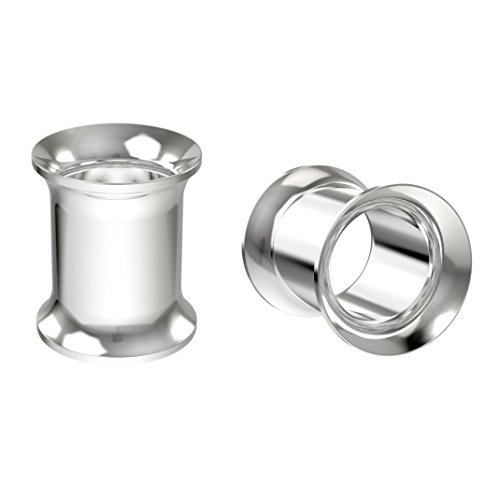 Bling Piercing 2pc 0g Surgical Stainless Steel Tunnel Plugs 8mm Metal Gauges Earrings Flesh Expander Double Flared