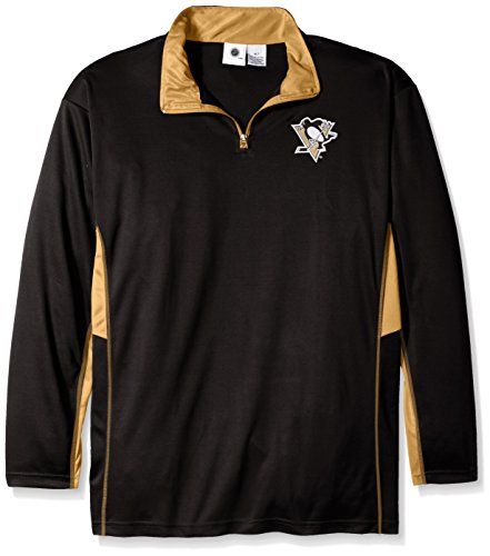 NHL Pittsburgh Penguins Men's Long Sleeved Zipper Piece Polyester Jersey, 2X/Tall, Black Tall Penguins