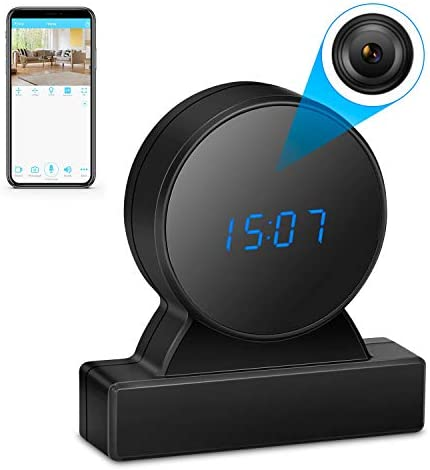 Hidden Camera Clock HD True 1080P Wireless Spy Camera WiFi Nanny Cam for Home Security Night Vision Motion Detection Alert Remote View on Android / iOS App