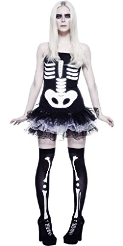 [Ponce Sexy Skeleton Costume Dress Day of the Dead Black/White] (Dead Prom Queen And King Costumes)