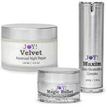 "JOY! Advanced Face, Neck, & Eye Trio. A ""Complete Anti-aging Package"". Best of 2017. Also Works on Hands, Arms & Legs. Vitamin A, B5, K, E, Jojoba Oil, Pacific Sea Kelp 60 Day Supply"