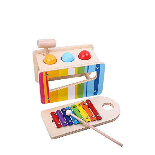 TookyToy Pound and Tap Bench with Slide Out Xylophone - Wooden Toddlers Musical Pounding and Hammer Educational Toy - Simple Baby Toys Educational & Sensory Learning for 1, 2 & 3 Year Olds