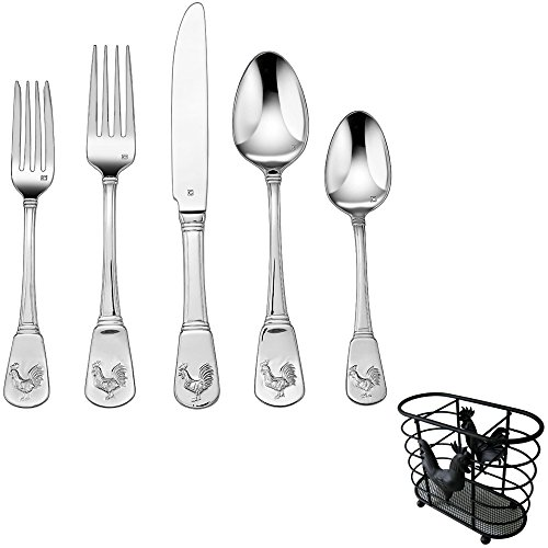 Collection 20 Piece Flatware Set - Cuisinart 20-Piece Flatware Set French Rooster (CFE-01-FR20) with Matching Rooster Collection Cutlery Holder
