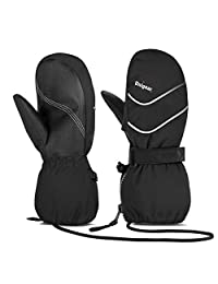 Unigear Kids Ski Mittens Waterproof Winter Snow Thinsulate Mittens with String for Boys Girls