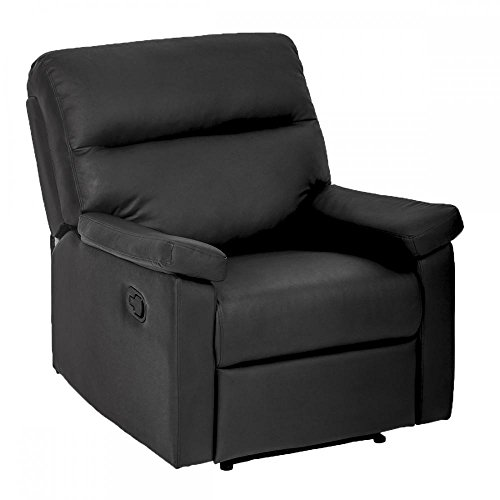 New Black Modern Leather Chaise Couch Single Recliner Chair Sofa Furniture 87 (Chairs Leather Single)
