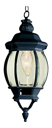 One Light Black Clear Beveled Glass Hanging ()