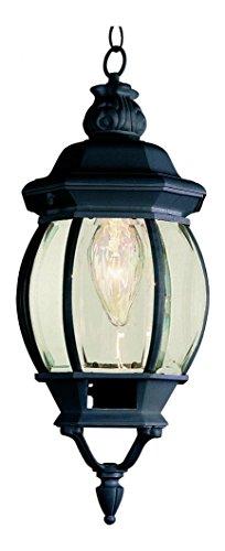 One Light Black Clear Beveled Glass Hanging Lantern