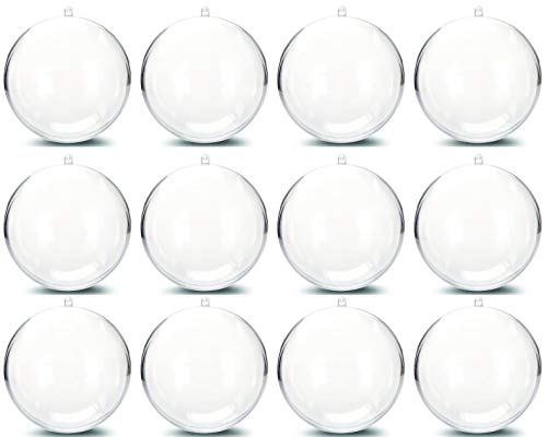 Plastic Ball Ornament, Clear, Pack of 12 (100mm) ()