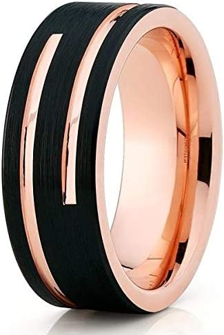 Silly Kings Jewelry Rose Gold Tungsten Wedding Band 18k Rose Gold Black Tungsten Wedding Ring Anniversary Ring Men Women Black Tungsten Ring Unique Tungsten Ring Tungsten Carbide Ring Comfort Fit