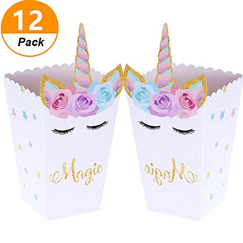 - Set of 12 JeVenis Magical Unicorn Party Favor Boxes Unicorn Party Popcorn Treat Boxes Candy Cookie Containers for Baby Shower or Birthday Party Favor Supplies Decorations