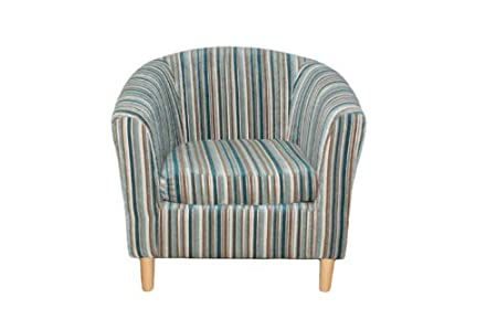 Magnificent Stripe Tub Chair Duck Egg Teal Amazon Co Uk Kitchen Home Home Interior And Landscaping Dextoversignezvosmurscom
