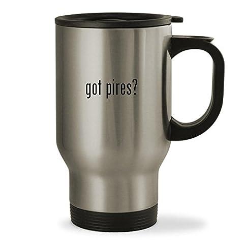 got pires? - 14oz Sturdy Stainless Steel Travel Mug, Silver (Alexander Pires)