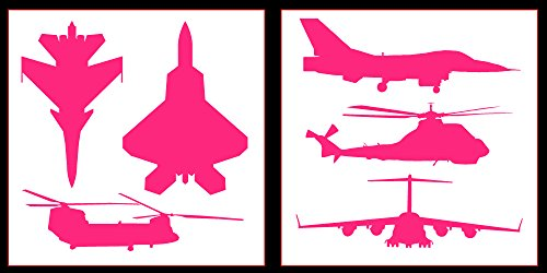 Auto Vynamics - STICKERPACK-MILPLANES-10-GPNK - Gloss Pink Vinyl Detailed Military Aircraft Sticker Pack - Includes Fighter Jets & Helicopters! - 10-by-10-inch Sheets - (2) Piece Kit - Themed Set