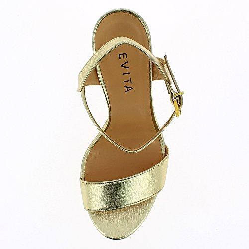 Evita Glattleder Sandalette Damen Gold Shoes Stefania rPI8wqZPx