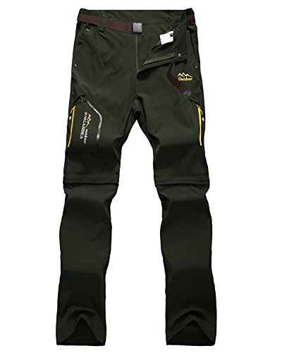 Jessie Kidden Women's Outdoor Quick Dry Convertible Hiking Stretch Cargo Pants #5818-Army Green, US XS (Tag M)