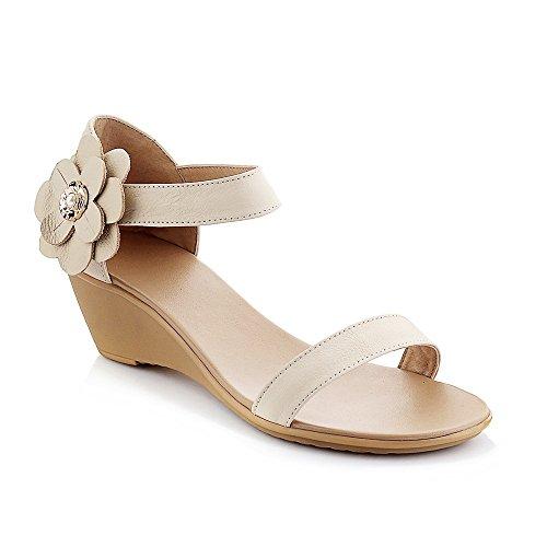 Chaussures de Ouvert Télévision Femmes de Sandales Beige Mot Boucle Pente Bande Toe Occasionnels w8r8X
