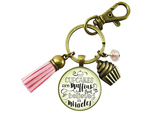 Measures Circle Keychain - Cupcake Keychain Muffins That Believed In Miracles Baker Life Fun Quote Jewelry Retro Inspired Cake Charm For Women