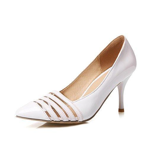 Patent Leather Toe Hollow Toe high Heels Sandals(White 35/4 B(M) US - Patent A-boo Dress Peek