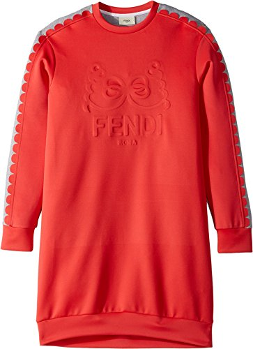 Fendi Kids Girl's Long Sleeve Dress w/Logo Design On Front (Big Kids) Red/Grey - Fendi Clothes Kids