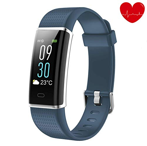 Lotyes Fitness Tracker,Color Screen Heart Rate Activity Tracker Sleep Monitor,Steps Counter,IP68 Waterproof Smart Band Kids,Women Men (Blue-Grey)