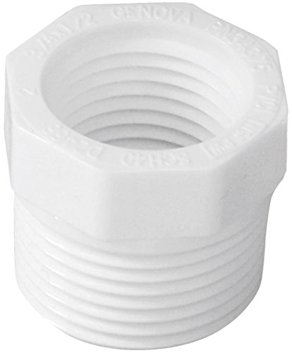 Genova Products 34375 3/4 Inch X 1/2 Inch PVC Sch. 40 Threaded Reducing Bushings 1/2 Sch 40 Bushing