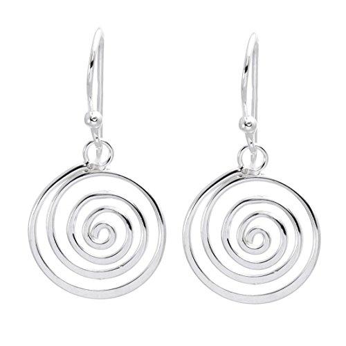 Spiral Silver Hook Earrings - Silverly Women's .925 Sterling Silver Round Spiral 14 mm Hook Earrings
