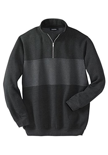 KingSize Men's Big & Tall 1/4-Zip Fleece Sweatshirt, Heather Charcoal Tall-2Xl - 1/4 Zip Fleece Sweatshirt