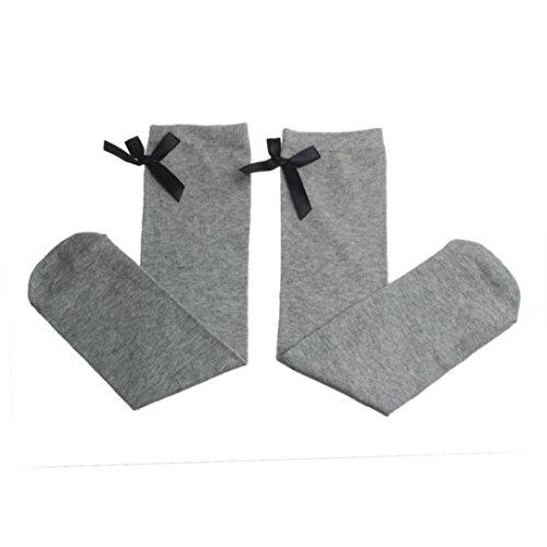 Yoyorule Cute One Pair Children Leg Warmers Bowknot Cotton Stockings (Gray) -
