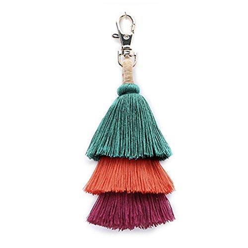 Hand Made Colorful Bohemian Tassel Bag Charm Keychain Handbag Pendant (green colour)