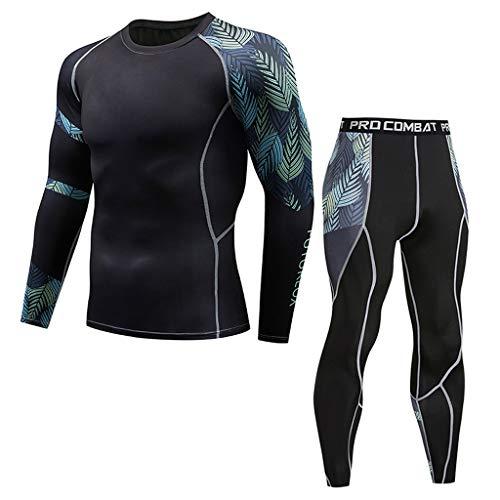 Men's Base Layer Underwear Set,NEWONESUN Cool Gear Quick Dry Long Sleeve Yoga Fitness Sport Athletic Long Johns Black