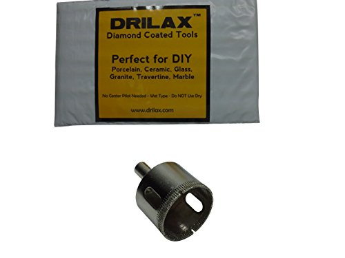 Drilax 1 5/8 Inch Diamond Hole Saw Drill Bit Tiles, Glass, Fish Tanks, Marble, Granite Countertop, Ceramic, Porcelain, Coated Core Bits Holesaw DIY Kitchen, Bathroom, Shower, Faucet Installation Size 1 5/8