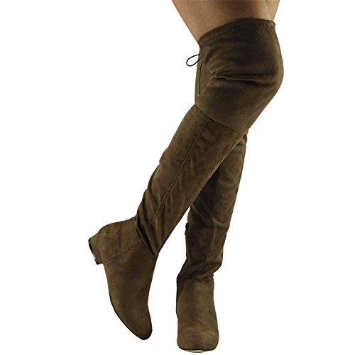 Womens Ladies muslo alta por encima de la rodilla tacón bajo Flat Lace Up botas Zapatos Tamaño 3–