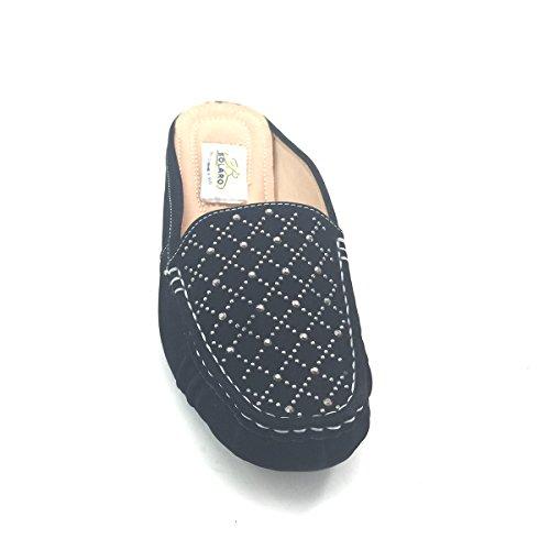 Nuevo Brieten Mujeres Studded Loafer Comfort Slide Zapatos