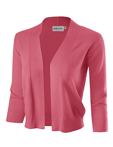 MAYSIX APPAREL 3/4 Sleeve Solid Open Bolero Cropped Cardigan For Women CORAL L Pink Shrug