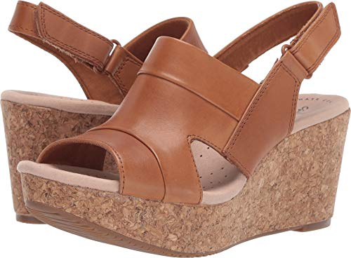 CLARKS Women's Annadel Ivory Wedge Sandal tan Leather 100 M - Wedge Shoes Leather