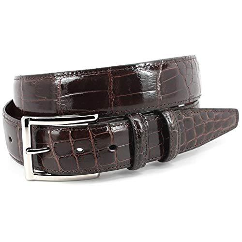 (Torino Leather Genuine American Alligator Belt - Brown 44)