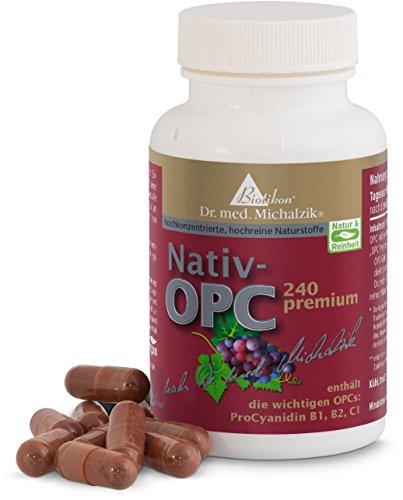 OPC premium von Biotikon nach Dr. med. Michalzik, aus französischen Traubenkernen hergestellt, enthält die wichtigen OPCs ProCyanidin B1, B2, C1 - ohne Zusatzstoffe, 72 rein pflanzliche Kapseln