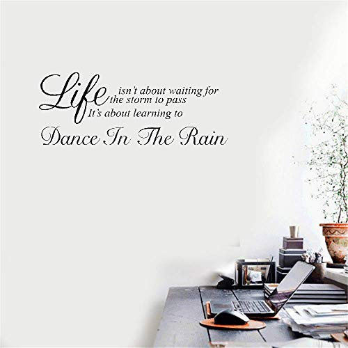 Removable Vinyl Mural Decal Quotes Art Wall Sticker Life Isn't About Waiting for The Storm to Pass for Living Room ()
