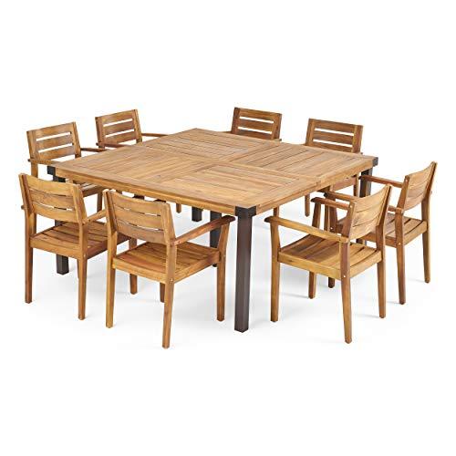 Great Deal Furniture Cara Outdoor 8 Seater Acacia Wood Dining Set, Teak Finish and Rustic Metal (Sets Furniture Metal Garden 8 Seater)