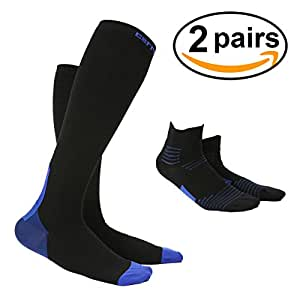 OUTERDO Compression Socks for Men & Women Best compression hose for Running cycling Hockey, Baseball Medical Nursing long socks and Short Socks 2 pairs S S