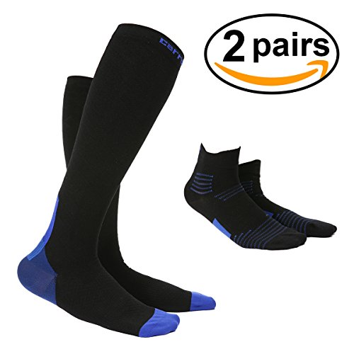 OUTERDO Compression Socks for Men & Women Best compression hose for Running cycling Hockey, Baseball Medical Nursing long socks and Short Socks 2 pairs Black&Blue (Bike Baseball Shorts)