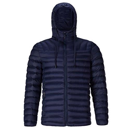 HHY-Pure color down cotton jacket, warm big code rib coat, men's cotton padded coat,blue,XL