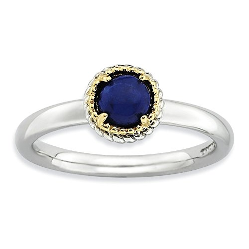 14k Lapis Cufflinks - Sterling Silver and 14k Stackable Expressions Lapis Polished Ring Size 10