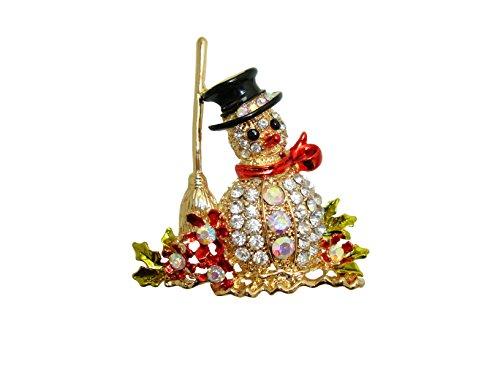 TTjewelry Lovely Christmas Snowman Brooch Clear Austria Crystal Flower