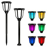 Miserwe Solar Lights Outdoor 2 Pack IP65 Waterproof Solar Landscape Lights for Lawn Patio Yard Pathway Walkway Auto On Off 4 Type of Installation with 6 Different Colors Review