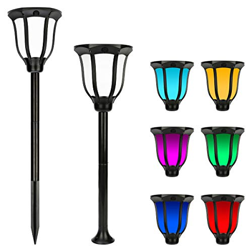 Miserwe Solar Lights Outdoor 2 Pack IP65 Waterproof Solar Landscape Lights for Lawn Patio Yard Pathway Walkway Auto On Off 4 Type of Installation with 6 Different Colors