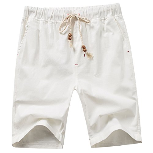 Casual Clothing Mens Shorts White - Manwan walk Men's Linen Casual Classic Fit Short B311 (XX-Large, White)