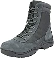 NORTIV 8 Men's Military Tactical Work Boots Side Zipper Leather Outdoor Motorcycle Combat Bo